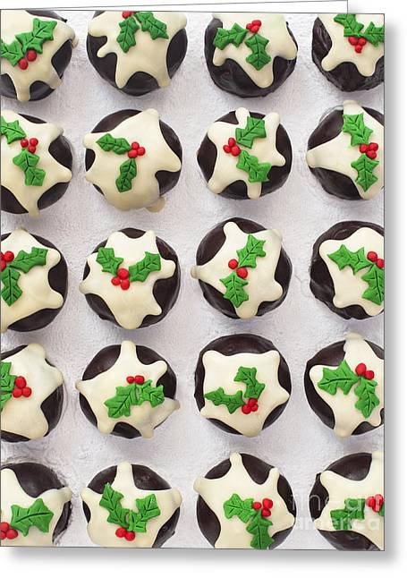 Christmas Pudding Chocolates Pattern Greeting Card by Tim Gainey