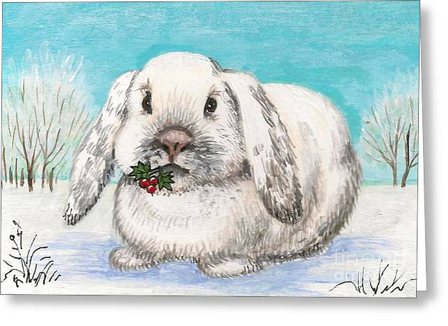 Christmas Rabbit Greeting Card by Margaryta Yermolayeva