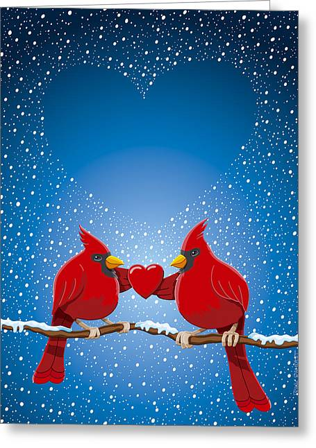 Christmas Red Cardinal Twig Snowing Heart Greeting Card by Frank Ramspott