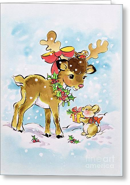 Christmas Reindeer And Rabbit Greeting Card