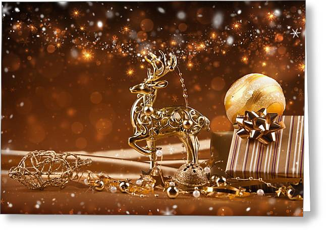 Christmas Reindeer In Gold Greeting Card