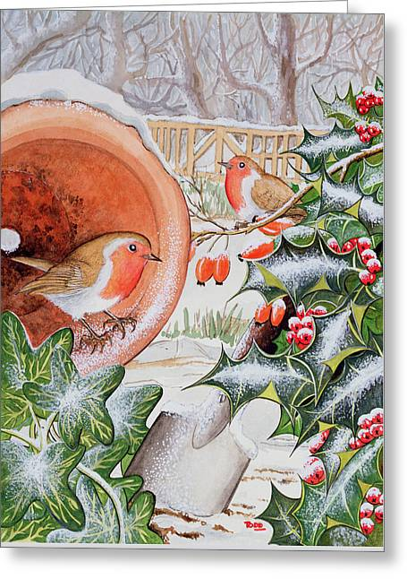 Christmas Robins Greeting Card