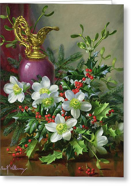 Christmas Roses Greeting Card by Albert Williams