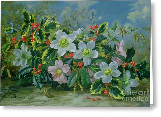 Christmas Roses And Holly Greeting Card by Albert Williams