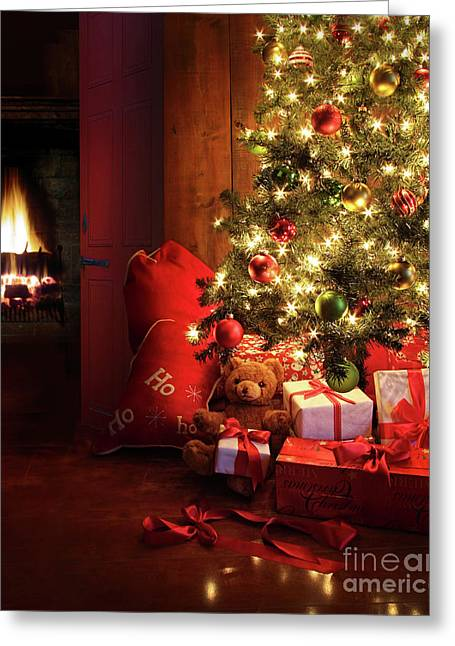 Christmas Scene With Tree And Fire In Background Greeting Card by Sandra Cunningham