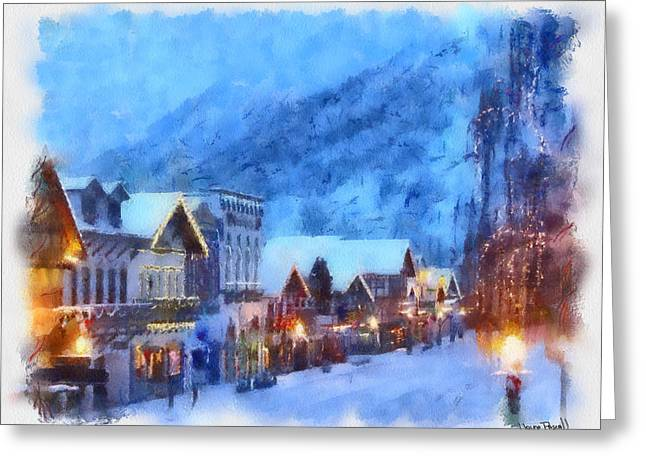 Greeting Card featuring the painting Christmas Scenes 2 by Wayne Pascall