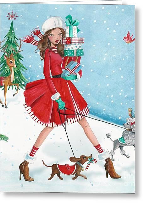 Christmas Shopping Greeting Card by Caroline Bonne-Muller