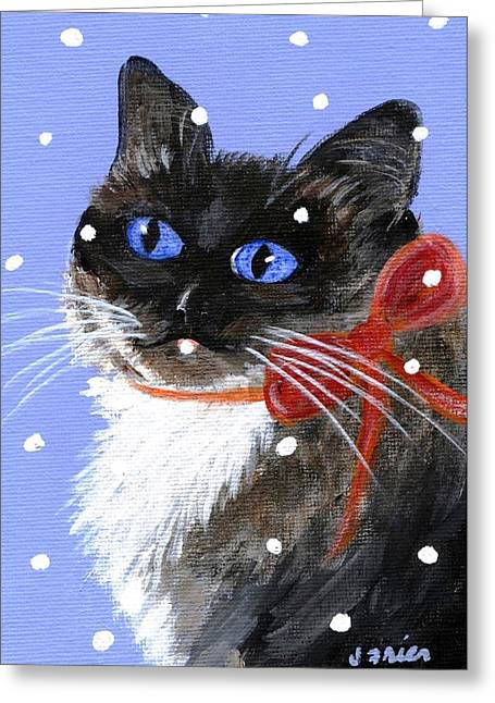Greeting Card featuring the painting Christmas Siamese by Jamie Frier