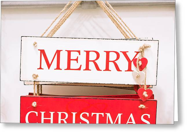 Christmas Sign Greeting Card by Tom Gowanlock