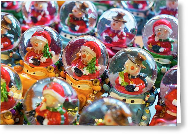 Christmas Snow Globes, Finland Greeting Card by Peter Adams