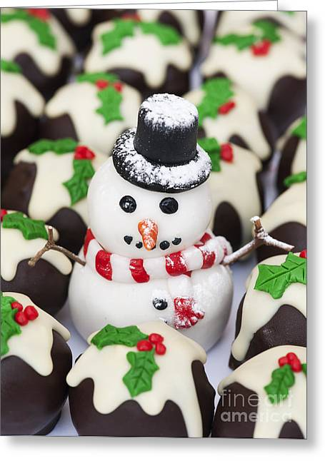 Christmas Snowman And Chocolate Puddings Greeting Card by Tim Gainey