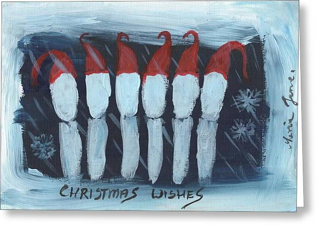 Christmas Song Greeting Card by Mrs Wilkes Art