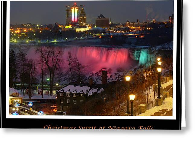 Christmas Spirit At Niagara Falls - Holiday Card Greeting Card by Lingfai Leung