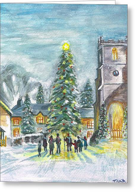 Greeting Card featuring the painting Christmas Spirit by Teresa White