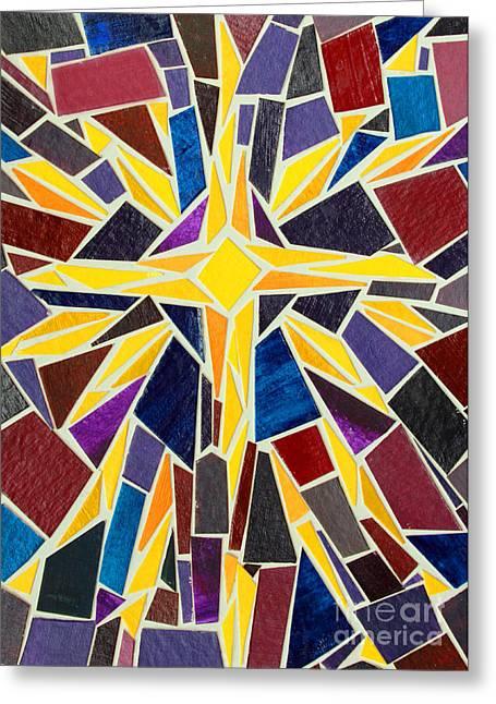 Christmas Star Of Bethlehem Mosaic Christmas Card Greeting Card by Adam Long