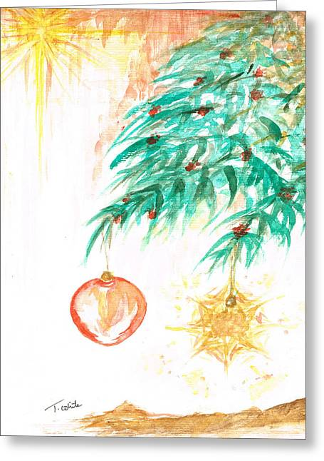 Greeting Card featuring the painting Christmas Star by Teresa White
