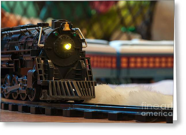 Christmas Train Greeting Card by Eddie Yerkish