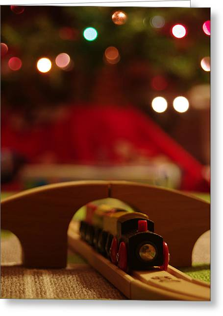 Christmas Train Greeting Card by John Ayo