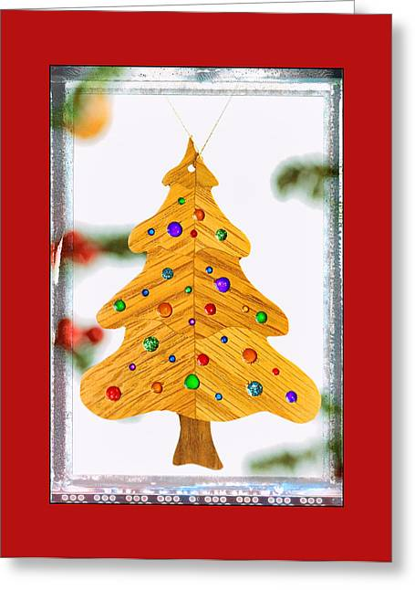 Christmas Tree Art Ornament In Red  Greeting Card