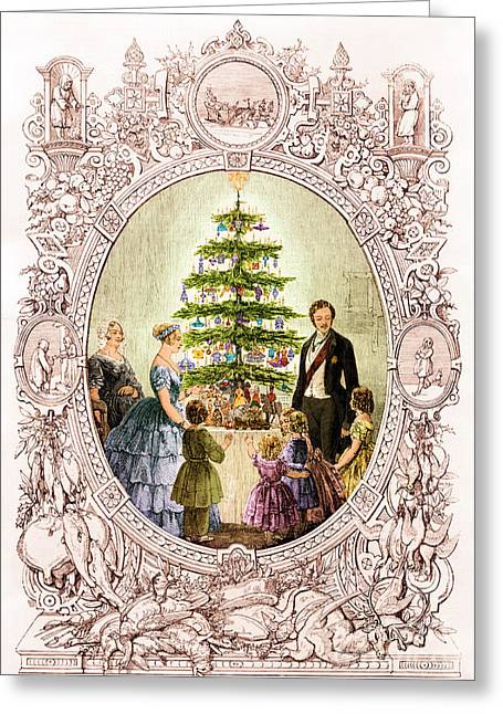 Christmas Tree At Windsor Castle 1848 Greeting Card by Photo Researchers