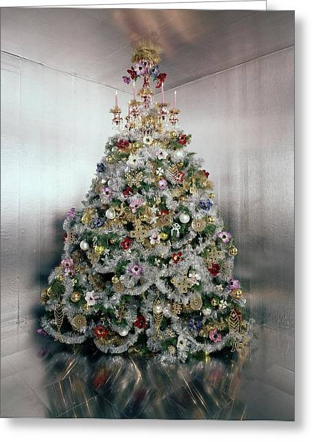 Christmas Tree Decorated By Gloria Vanderbilt Greeting Card by Ernst Beadle