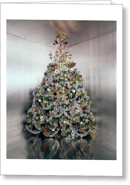 Christmas Tree Decorated By Gloria Vanderbilt Greeting Card