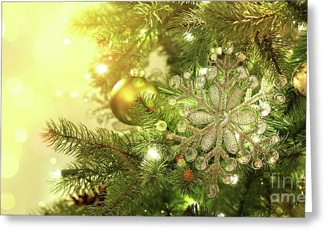 Backdrop Greeting Cards - Christmas tree decorations with sparkle background Greeting Card by Sandra Cunningham