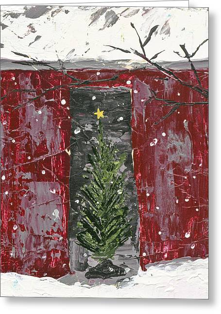 Christmas Tree In Barn Greeting Card by Kirsten Reed