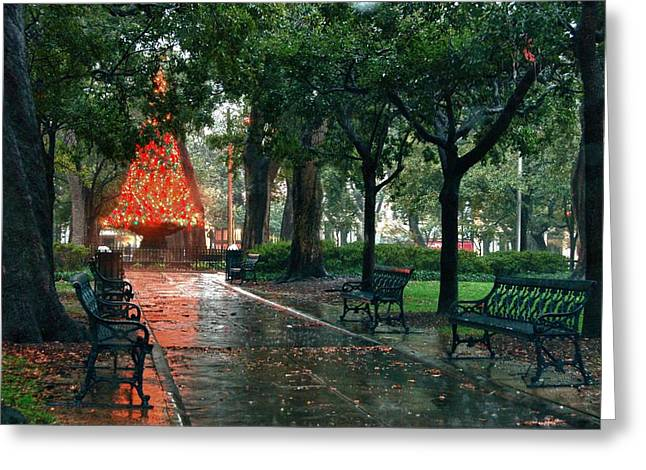 Christmas Tree In Bienville Square Greeting Card