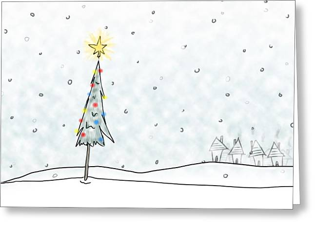 Christmas Tree In Snowfall Greeting Card