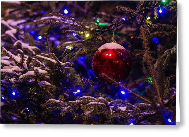 Christmas Tree In The Street Decorated With Red Ball And Covered With Snow Greeting Card by Alexander Senin