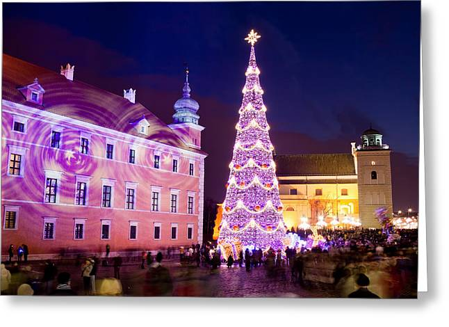 Christmas Tree In Warsaw Old Town Greeting Card by Artur Bogacki