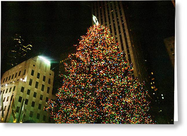 Christmas Tree Lit Up At Night Greeting Card by Panoramic Images