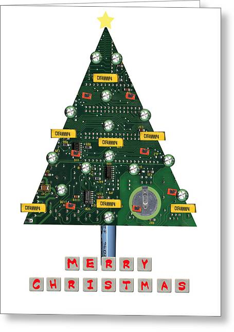 Christmas Tree Motherboard Greeting Card by Mary Helmreich