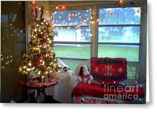 Christmas Tree On Sunporch Greeting Card by Debbie Wassmann