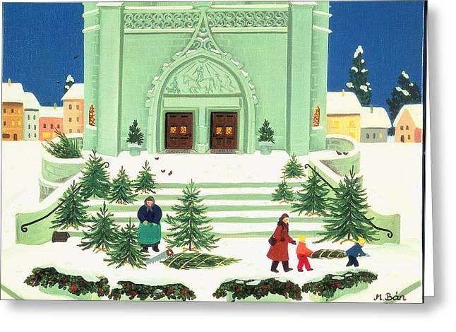 Christmas Tree Selling, 1988 Greeting Card by Magdolna Ban