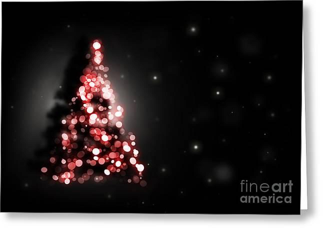 Christmas Tree Shining On Black Background Greeting Card by Michal Bednarek