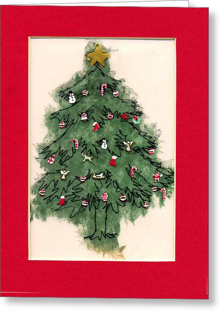 Christmas Tree With Red Mat Greeting Card by Mary Helmreich