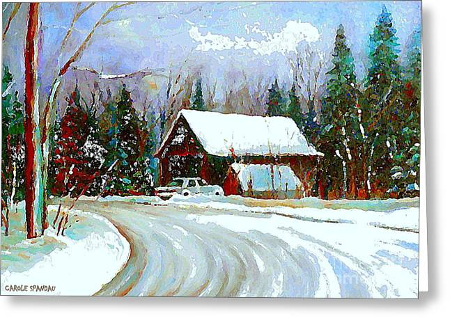 Christmas Trees Cozy Country Cabin Painting Winter Scene: christmas card scenes to paint