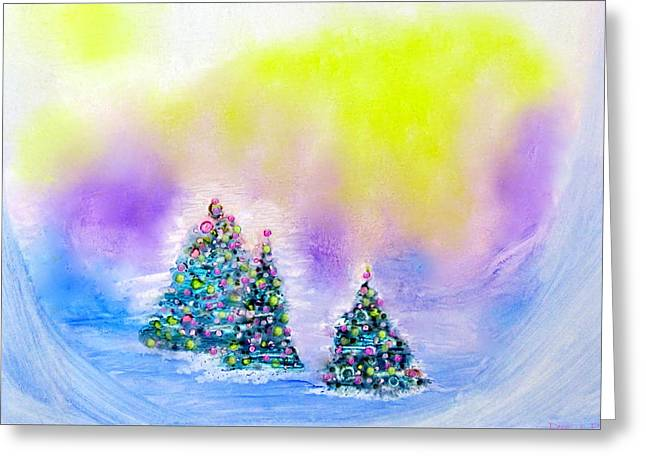 Christmas Trees In The  Valley - Alcohol Inks In Pastel Greeting Card