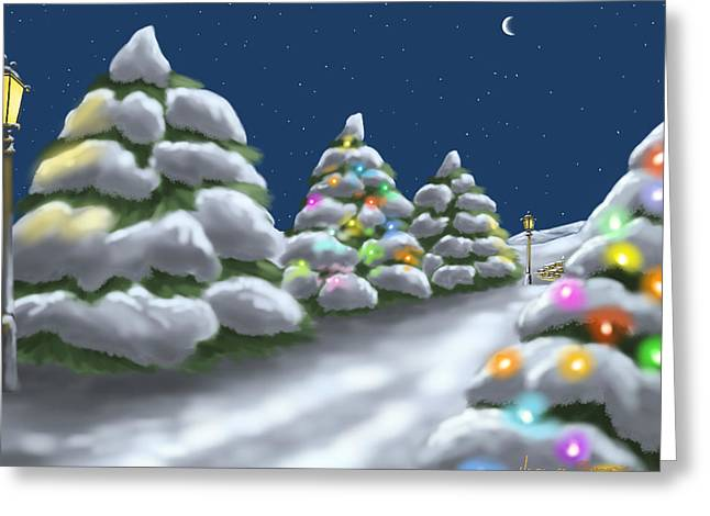 Christmas Trees Greeting Card by Veronica Minozzi