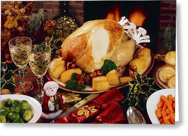Christmas Turkey Dinner With Wine Greeting Card by The Irish Image Collection