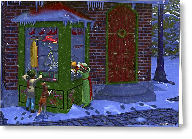 Christmas Window Shopping Greeting Card by Ken Morris