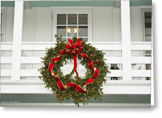 Greeting Card featuring the photograph Christmas Wreath by Ann Murphy