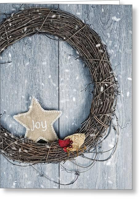 Christmas Wreath Greeting Card by Amanda Elwell
