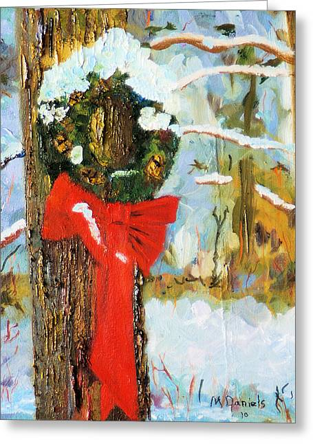 Christmas Wreath Greeting Card by Michael Daniels