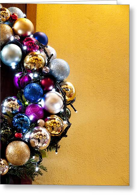 Christmas Wreath Greeting Card by Rae Tucker