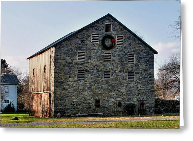 Christmastime At The Probst Stone Barn Greeting Card by Gene Walls