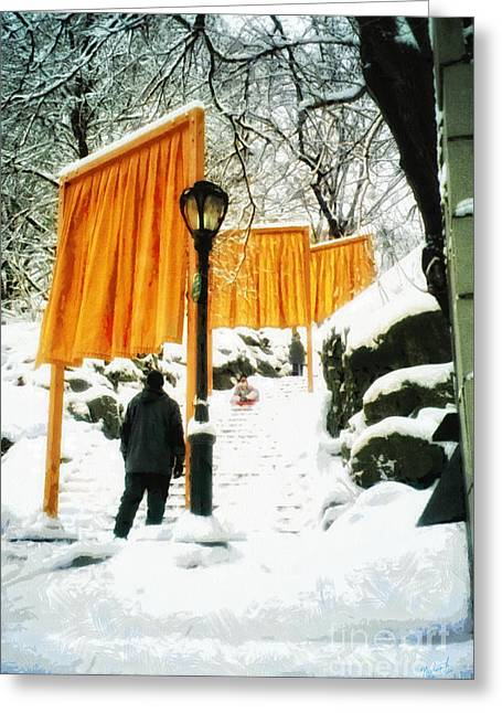 Christo - The Gates - Project For Central Park In Snow Greeting Card by Nishanth Gopinathan