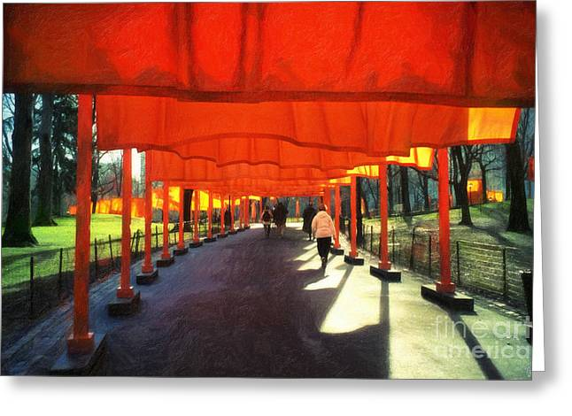 Christo - The Gates - Project For Central Park Greeting Card by Nishanth Gopinathan